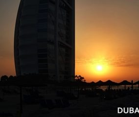 Sunset at Burj Al Arab in Jumeirah Beach Hotel