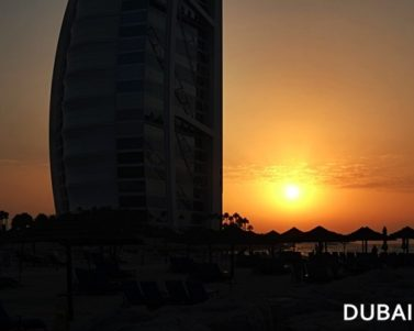 Sunset at Burj Al Arab in Jumeirah Beach Hotel