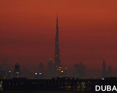 Burj Khalifa and Dubai Skyline in Red