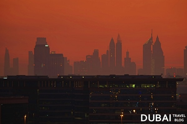 dubai buildings sunset