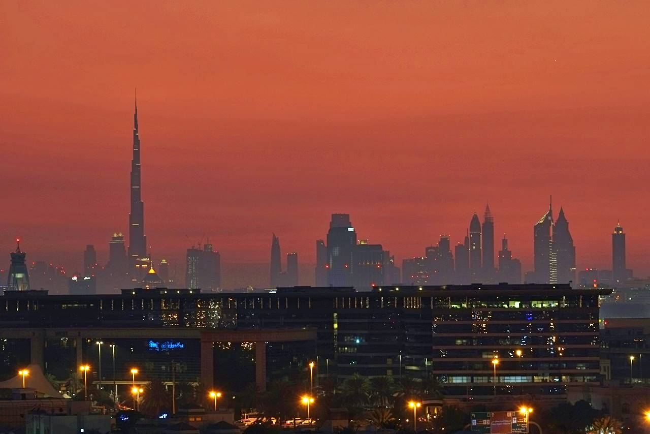 Burj Khalifa And Dubai Skyline In Red Dubai Travel Blog