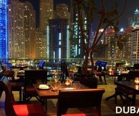 Asia Asia Lounge in Dubai Marina at Night