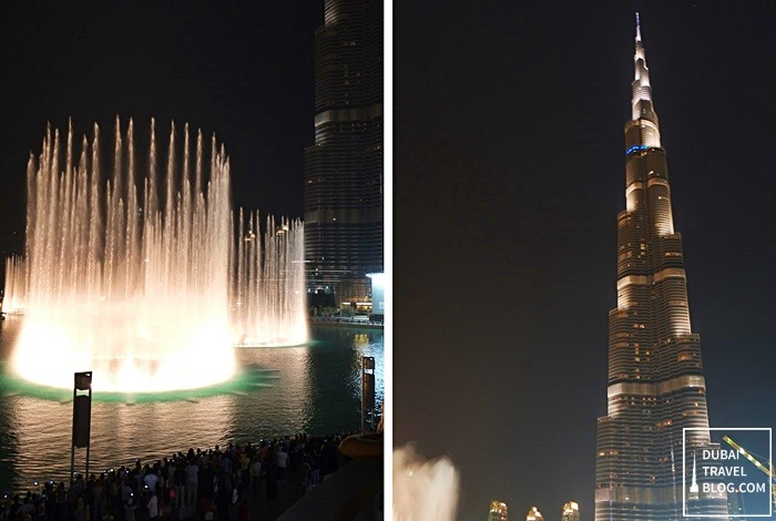 burj khalifa water fountain show night