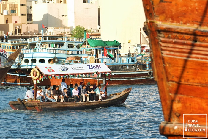 riding the abra at dubai creek