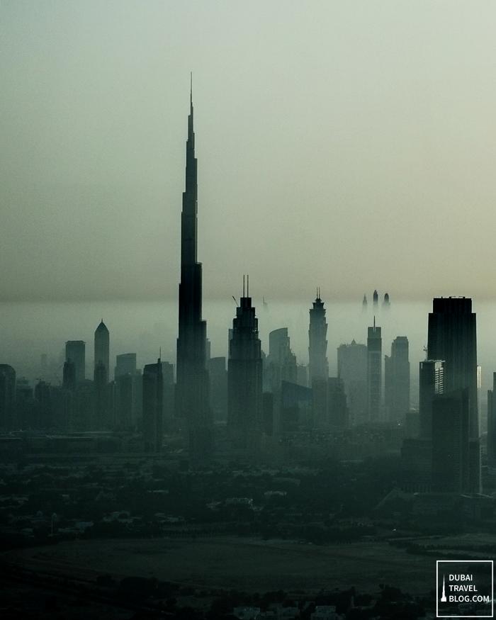 dubai skyline hazy photo