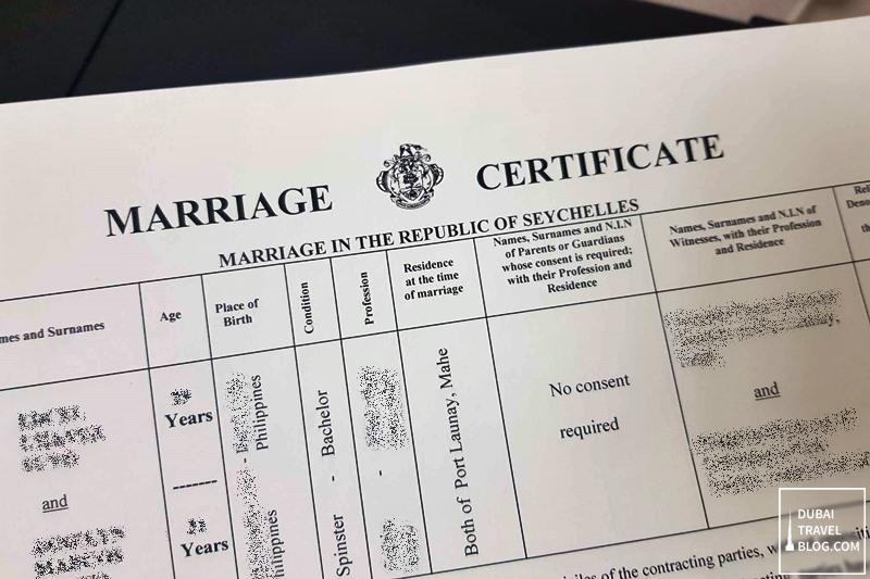 seychelles wedding certificate