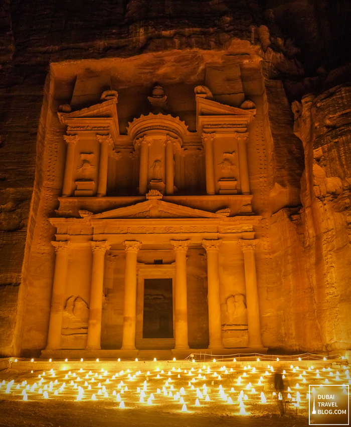 treasury at night petra jordan