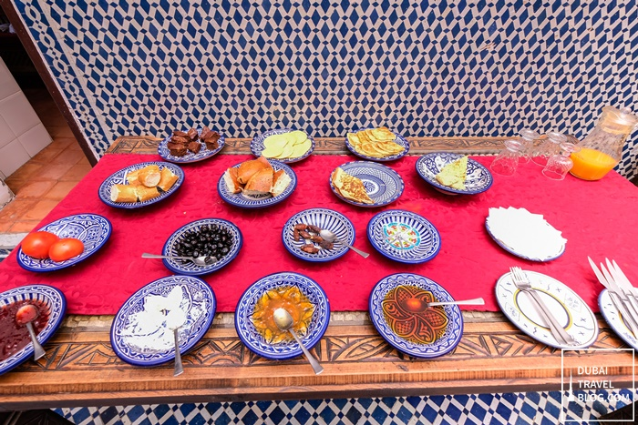 breakfast at riad tafilalet fes morocco