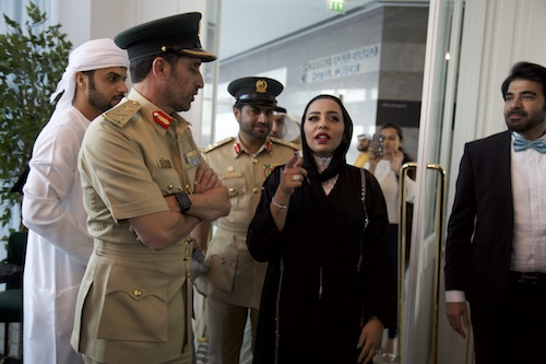 Abdullah Khalifa Al Marri Commander-in-Chief of Dubai Police and Rasha Al Danhani at the opening copy