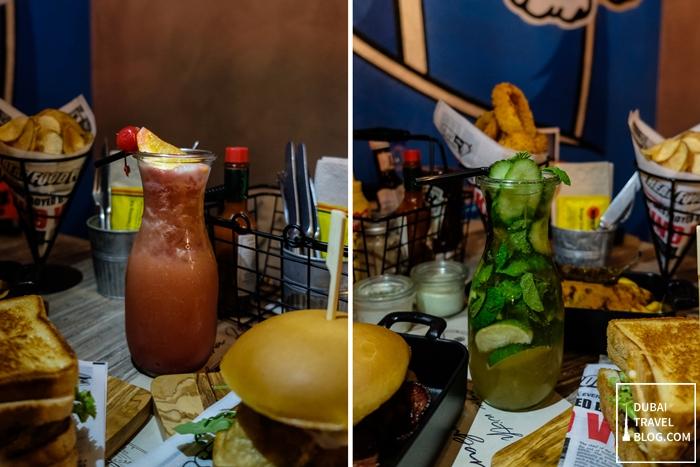 drinks at blaze burgers dubai