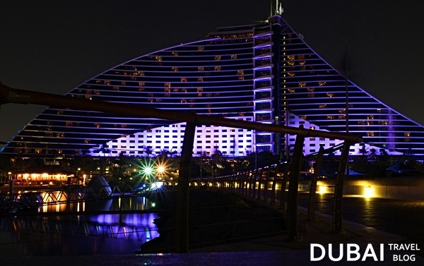 jumeirah beach hotel at night photo