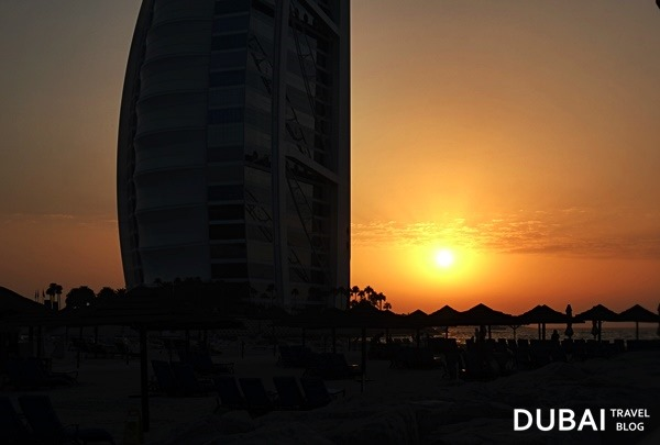 sunset burj al arab beach