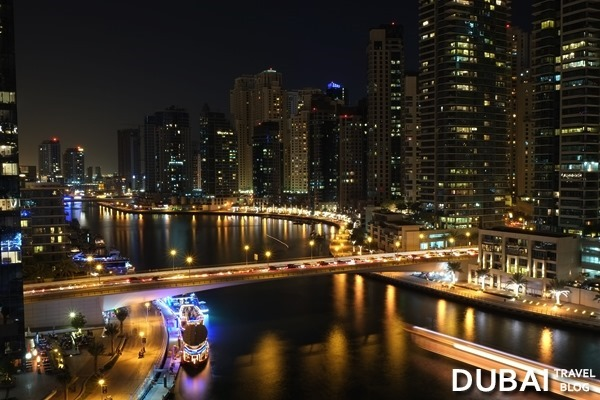 dubai marina night shot from pier 7