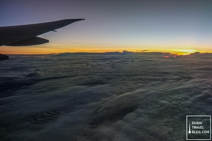 emirates flight clouds
