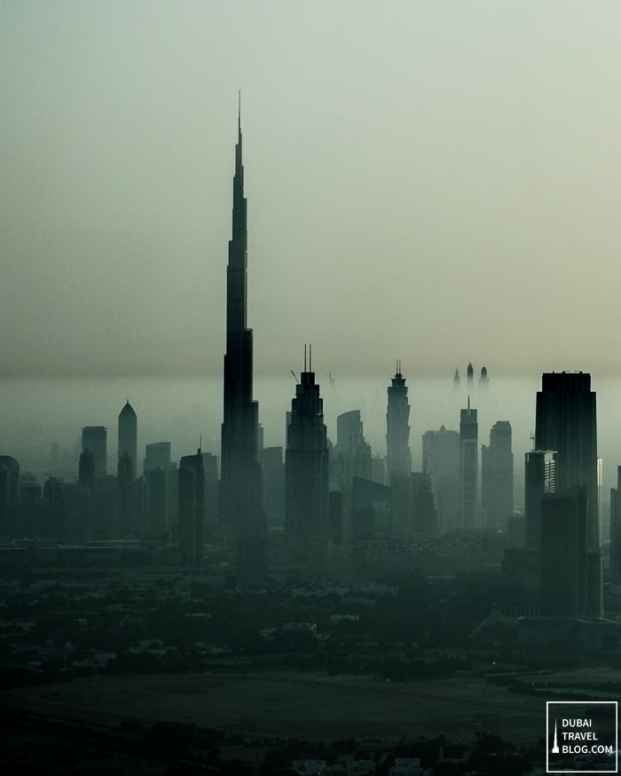 dubai skyline hazy photo