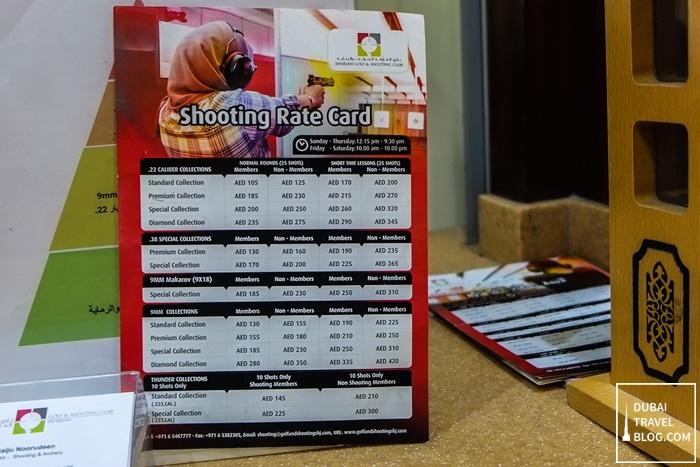 sharjah shooting club cost
