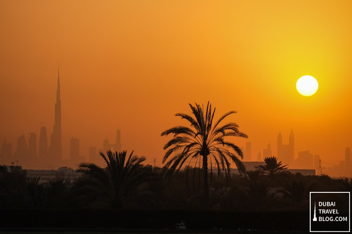 dubai skyline sunset desert palm resort