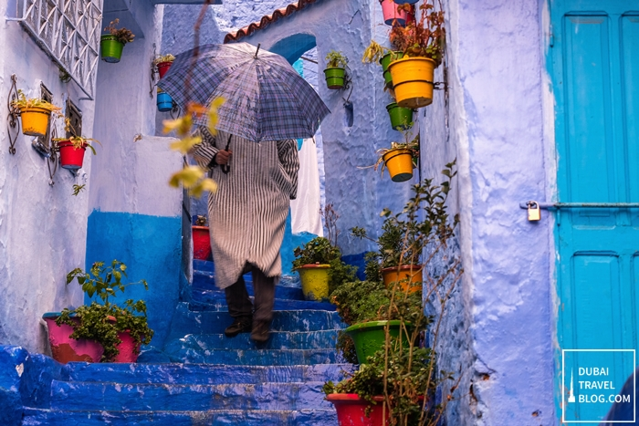 blue town chefchaouen morocco photo