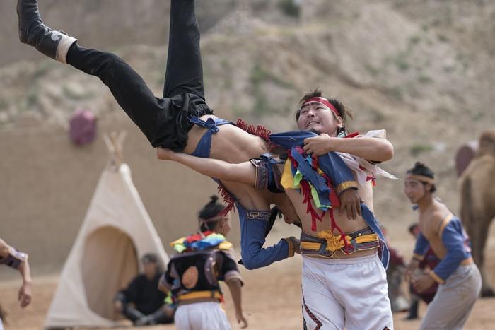 acrobats stuntment war horse show ningxia