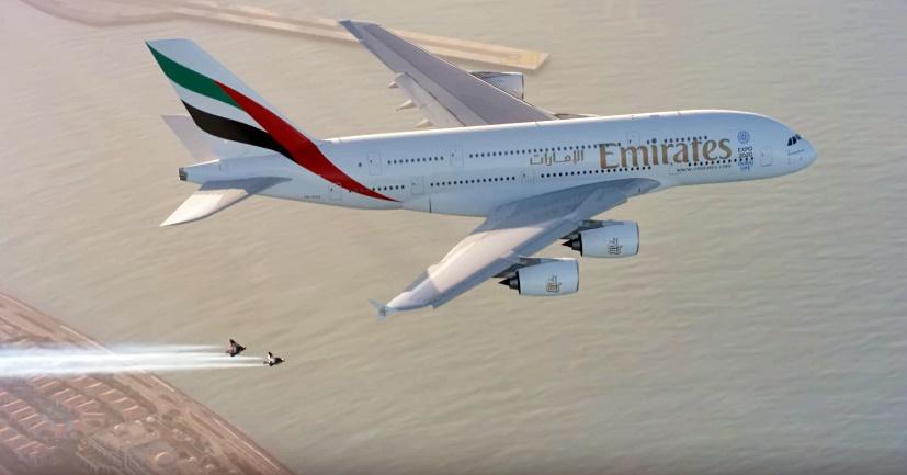 emirates plane and jetpacks