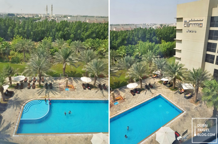 view of the pool from centro sharjah room