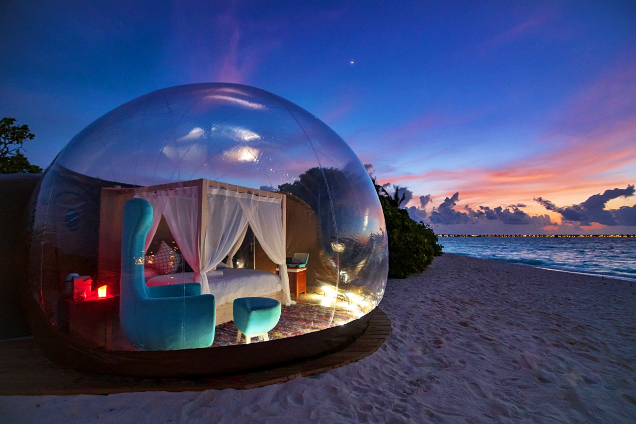 Beach Bubble Tent in Finolhu Maldives