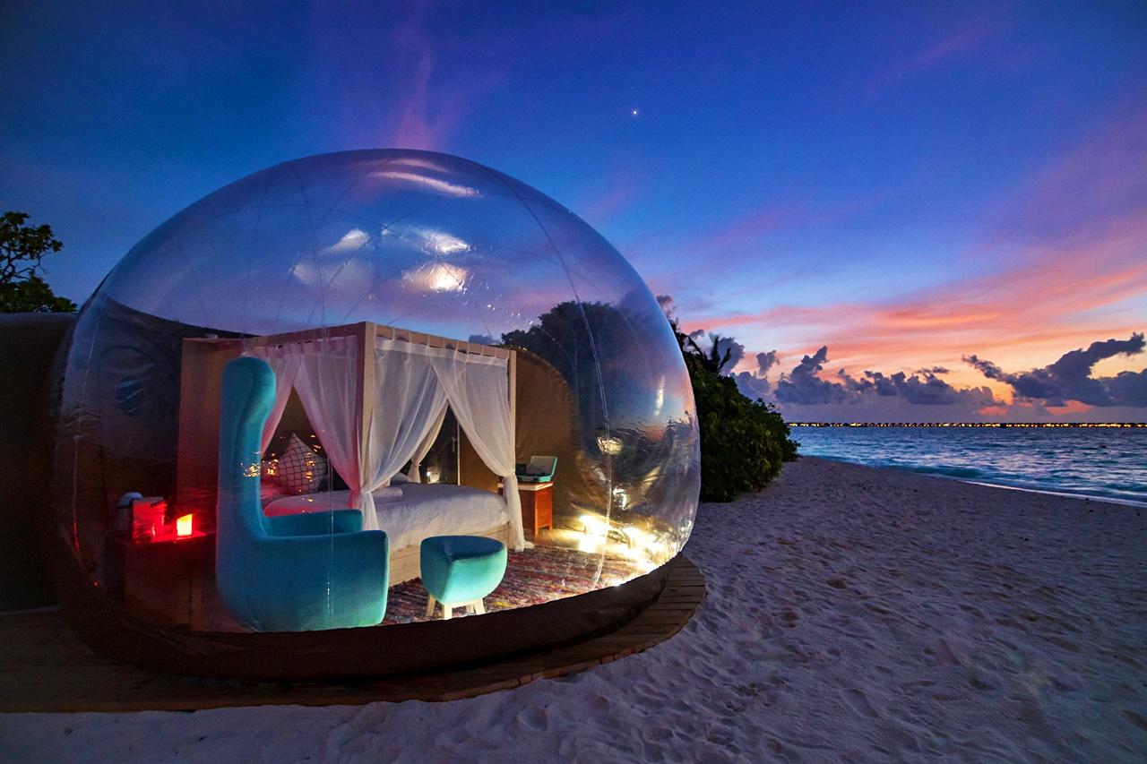 Beach Bubble Tent in Finolhu Maldives