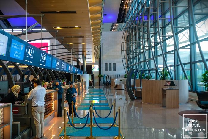 first class business class checkin muscat airport oman