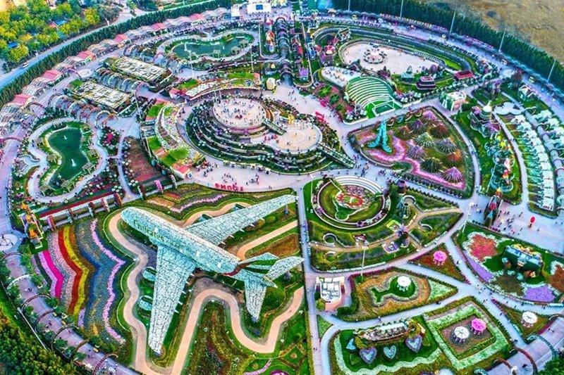 Dubai Miracle Garden aerial view