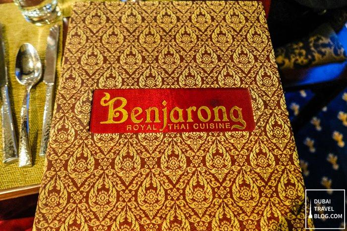 benjarong royal thai cuisine menu book
