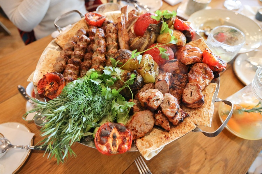 Lyulya Kebab, Shashlyk, and Grilled Vegetables