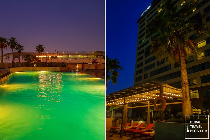 swissotel dubai pool night