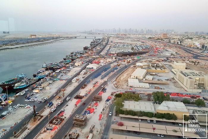 view of Dubai from Al Dawaar restaurant