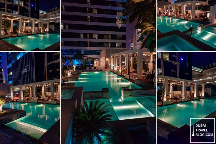 H Hotel pool night time