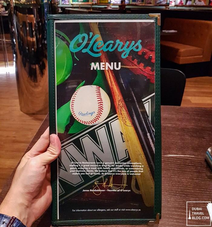 dubai olearys menu