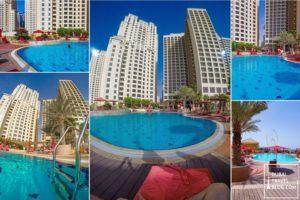 swimming pool in amwaj rotana hotel