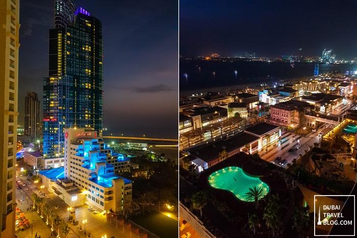 view from amwaj rotana at night