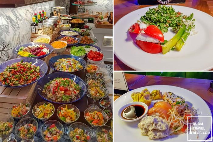 salad sushi mezze dumplings at al dawaar